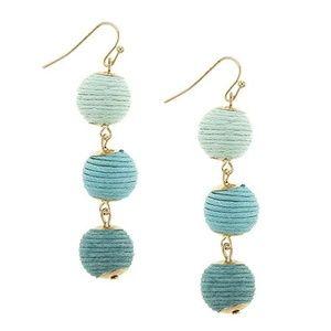 Jewelry - Mini Thread Wrapped Bon Bon earrings in turquoise
